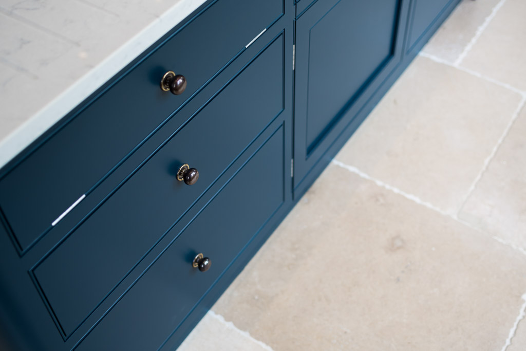 F&B Hague Blue painted in frame kitchen drawer detail