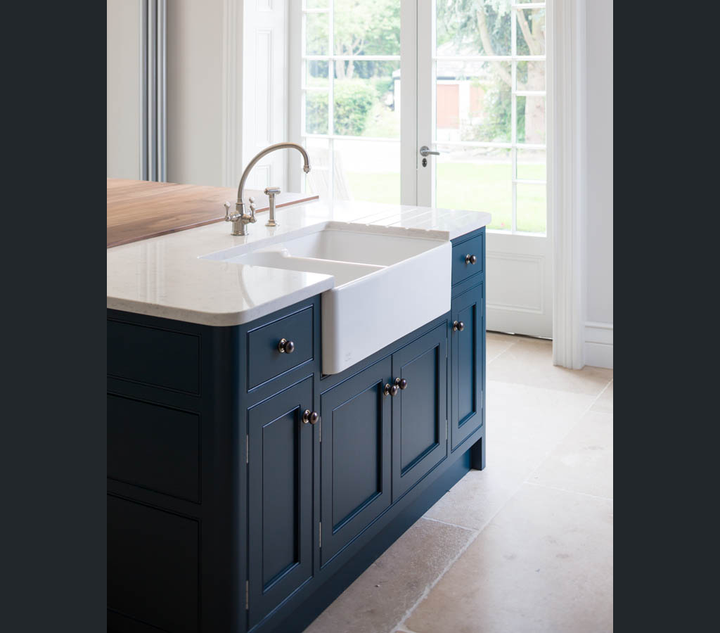 Hague Blue Farrow Ball FB In Frame Painted Kitchen Island With Belfast