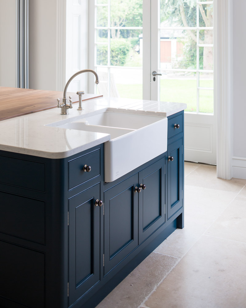 hand painted hague blue inframe kitchen with white quart worktop
