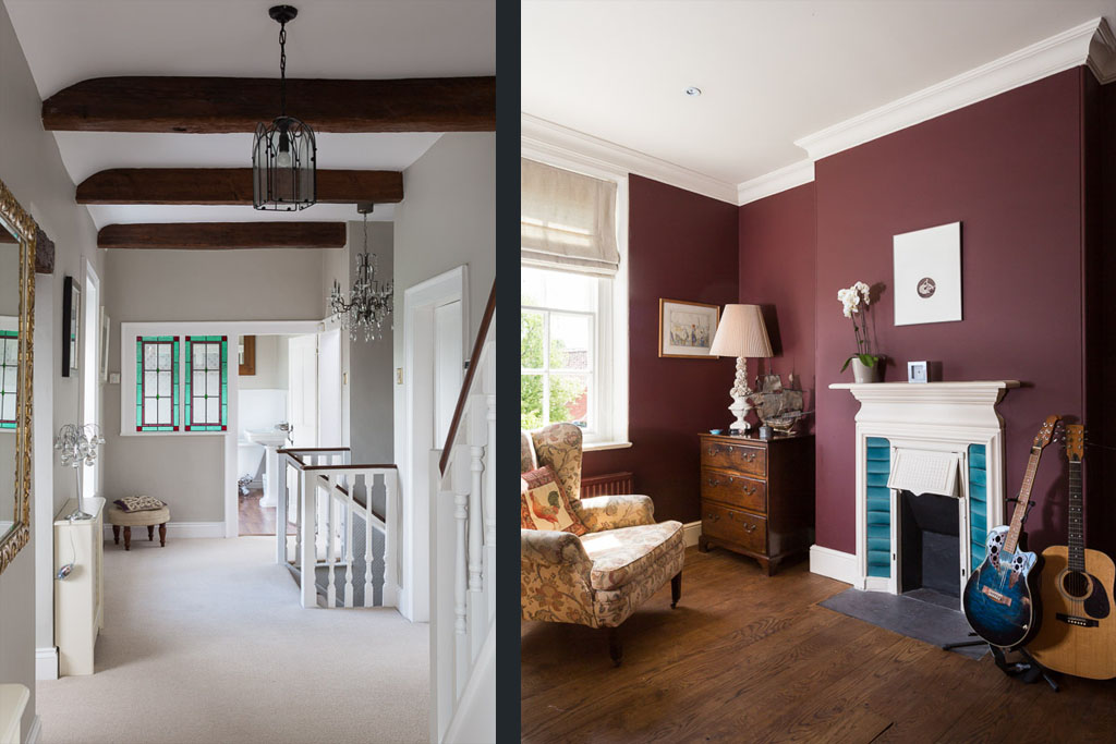 lifestyle imagery of period hall way and study interiors