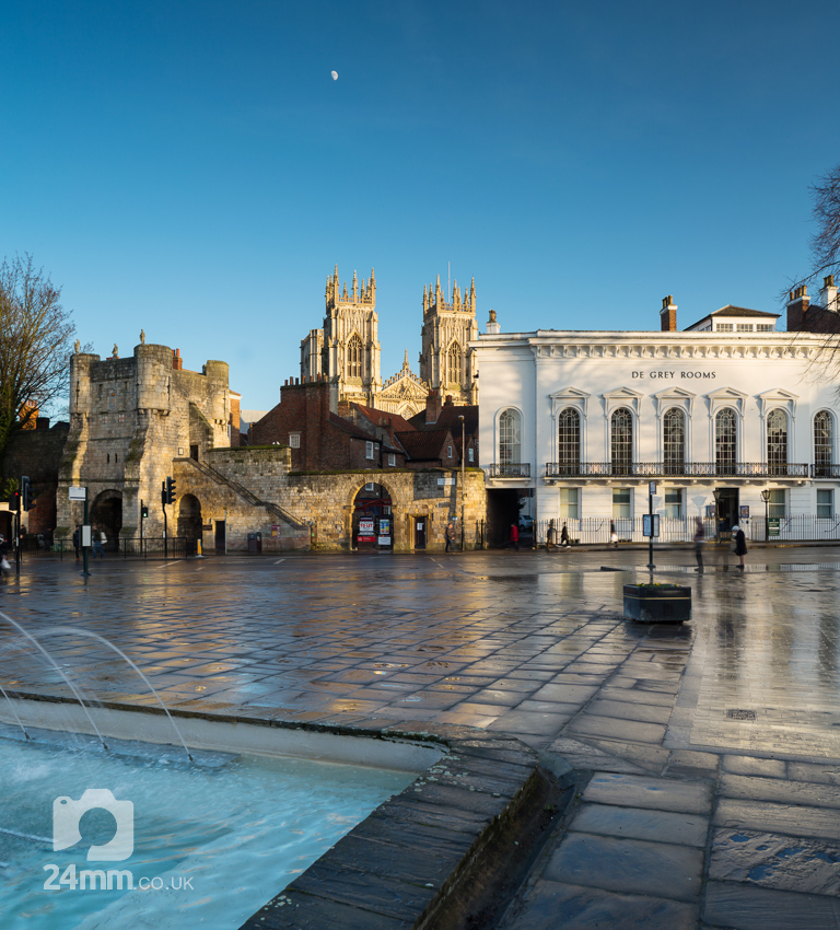 Exhibition Square, Bootham Bar & York Minster with moon at sunset
