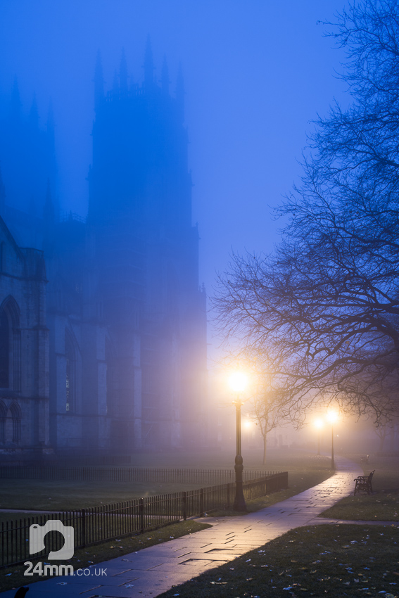 York Minster, streetlamps, mist and early evening gloom. Photographs York