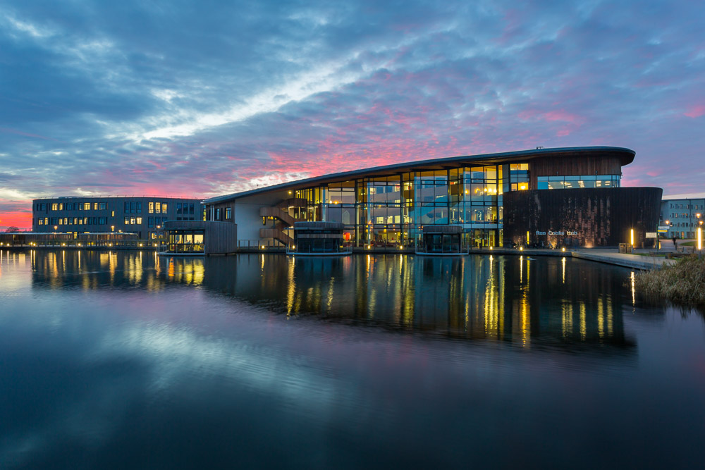 Ron Cooke Hub sunset, Heslington East, York University
