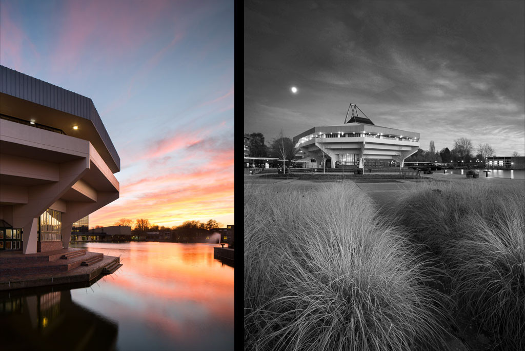 University of York central hall at sunset and dusk, Yorkshire building photographer